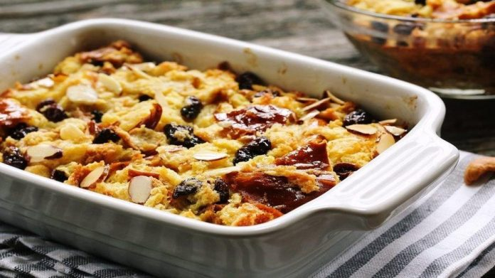 Eggless Bread and Butter Pudding Recipe